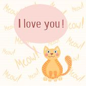 stock photo of mew  - Cute romantic background with cat who mews I love you - JPG