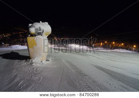 Snow Machine Gun At Ski Slope