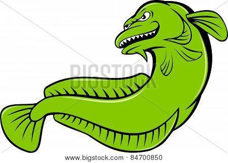 Burbot Fish Angry Cartoon