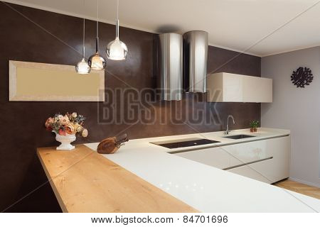 Architecture, beautiful apartment furnished, domestic kitchen
