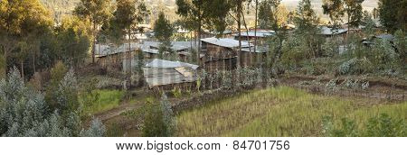 panorama of small village and farm field in Ethiopia