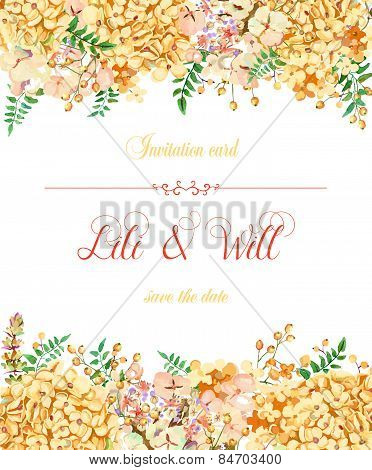 Invitation Card. Vector Yellow Watercolor Flowers.