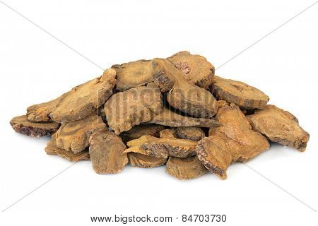 Chinese rhubarb used in herbal medicine over white background. Da huang.