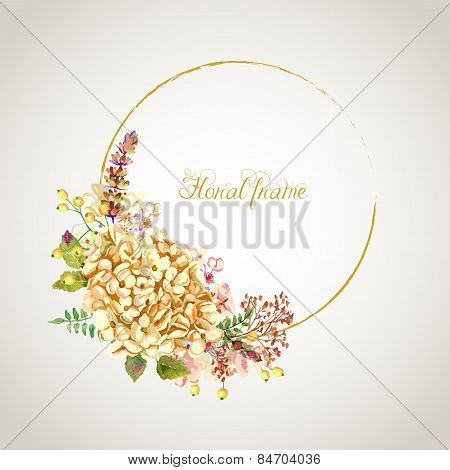 Vector Round Frame Of Yellow Hydrangea And Other Flowers.