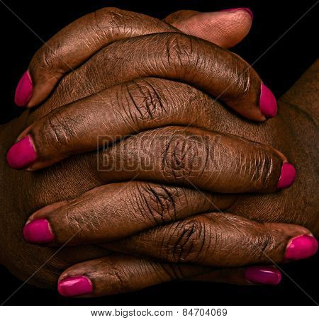 Very Interesting Image of Hands with Pink Fingernails