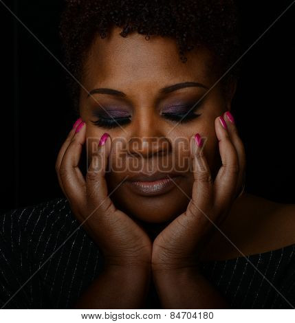 Beautiful Emotional Image of a Pretty afro american woman