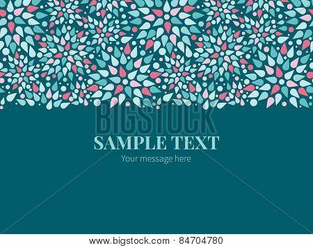 Vector abstract colorful drops horizontal border greeting card invitation template