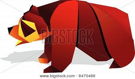 Ilustração de urso de origami.