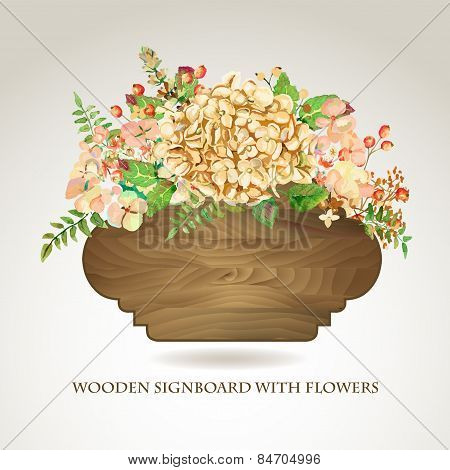 Vector Frame Of Yellow Watercolor Hydrangea And Berries On Wooden Background.