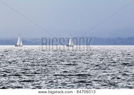 Sailboats on Lake Constance