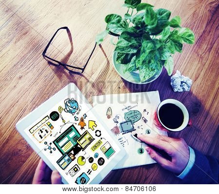 Businessman Responsive Design Content Digital Devices Concept