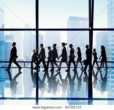 Business People Corporate Travel Walking Office Concept