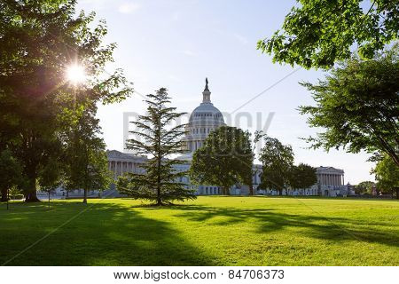 Capitol building Washington DC sunset garden USA US congress