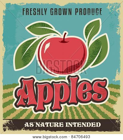 Retro apple vintage advertising poster - Metal sign and label design. Removable texture applied. Vector illustration for fresh apples