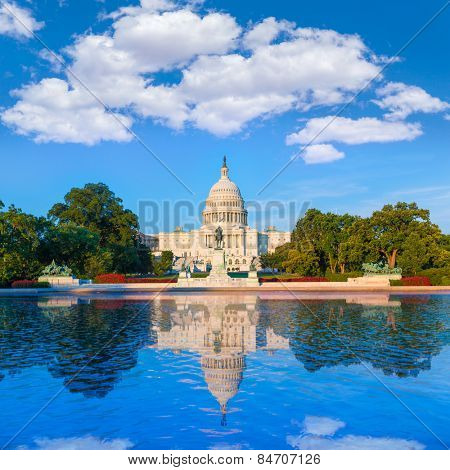Capitol building Washington DC sunlight USA US congress reflecting pool