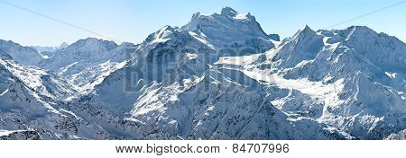 winter panorama of high alpine mountains