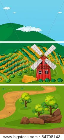 farmland in the countryside with windmill