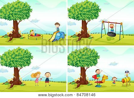four scenes of children in the playground
