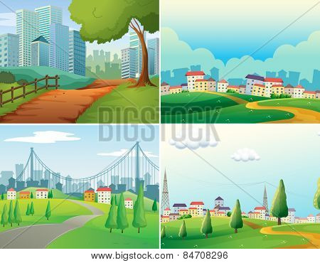 scenes of cities and parks