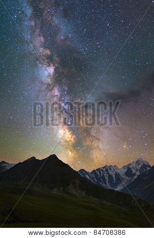 Milky Way over mountains
