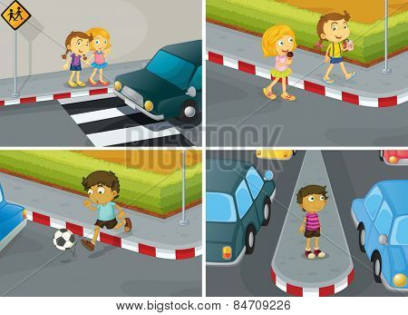 children crossing road