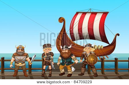 vikings standing on the pier