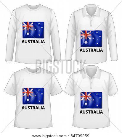 four design shirts with australia flag