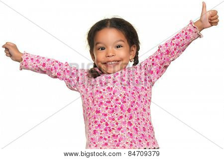 Funny multiracial small girl opening her arms wide isolated on white