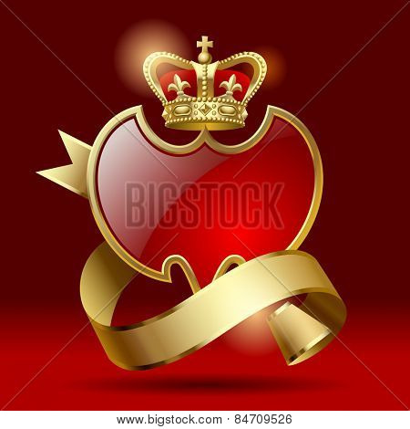 Retro artistic badge in the form of a shields with gold ribbon and crown against a dark red background.  Contain the Clipping Path