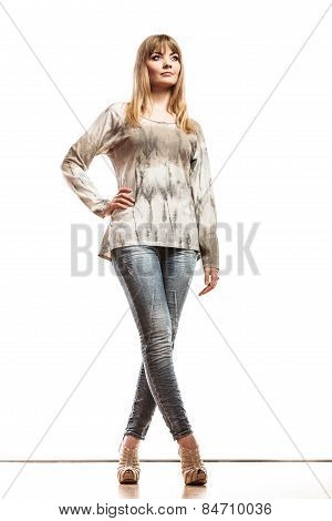 Blonde Fashionable Girl In Bright Tshirt