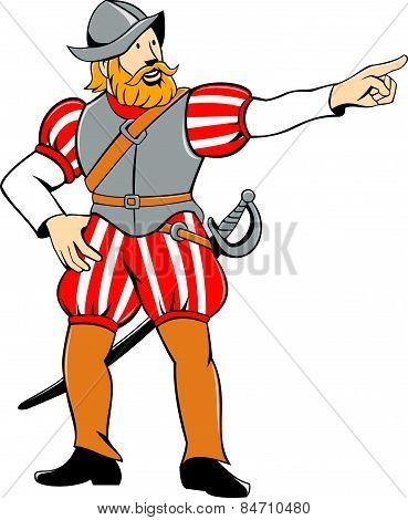 Spanish Conquistador Pointing Isolated Cartoon