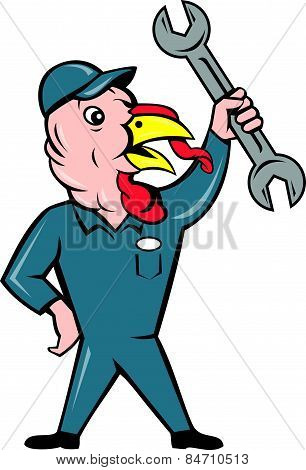 Turkey Mechanic Spanner Isolated Cartoon