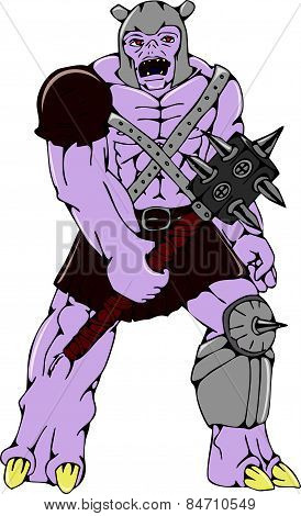 Orc Warrior Holding Club Front Cartoon