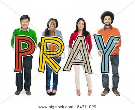 Multiethnic Group of People Holding Letter Pray Concept