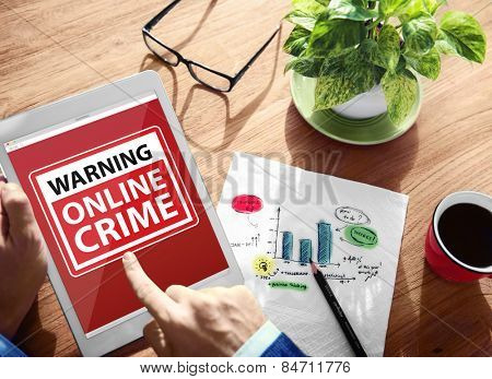 Warning Online Crime Digital Device Wireless Browsing Concept