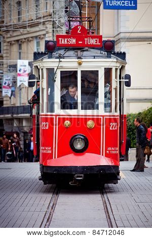 Red Tram In Istanbul