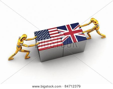 Political or financial concept of the USA struggling and finding a solution with the United Kingdom