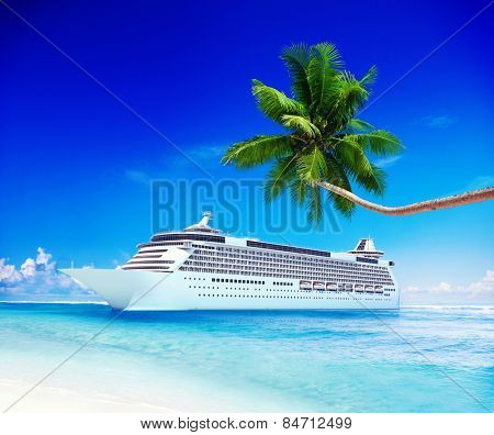 Cruise Ship Travel Beach Seascape Vacation Concept