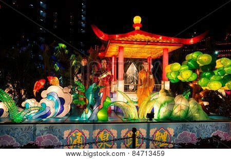 KUALA LUMPUR, MALAYSIA - FEBRUARY 23, 2015: Lighted lanterns and sculptures of characters from Chinese folklores decorate the grounds of Thean Hou Temple in celebration of the Chinese New Year.