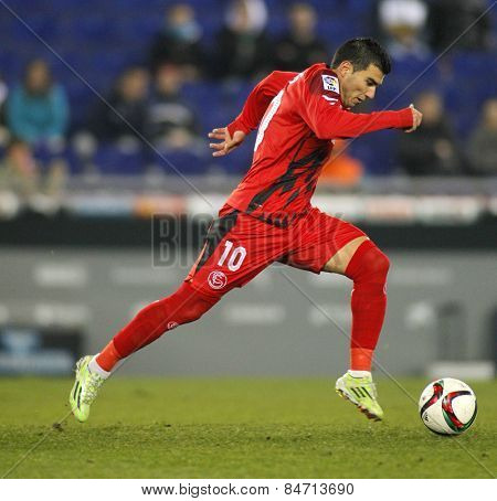 BARCELONA - JAN, 22: Jose Antonio Reyes of Sevilla FC during spanish League match against RCD Espanyol at the Estadi Cornella on January 22, 2015 in Barcelona, Spain