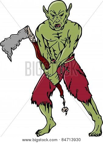 Orc Warrior Wielding Tomahawk Cartoon