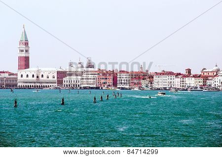 Doges Palace And Water Traffic In Summer Venice