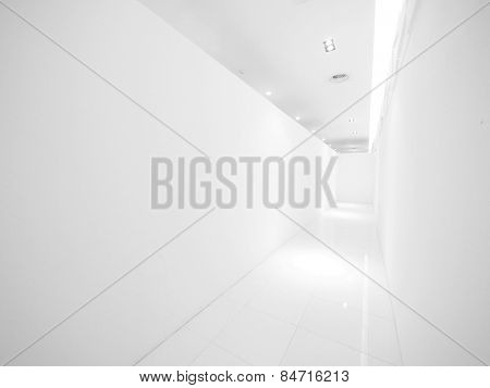 Blank wall and corridor in modern building