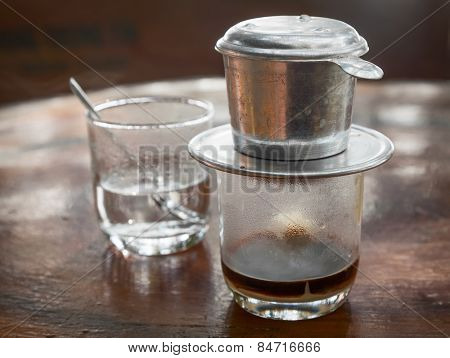 Coffee brewed in  traditional vietnamese style