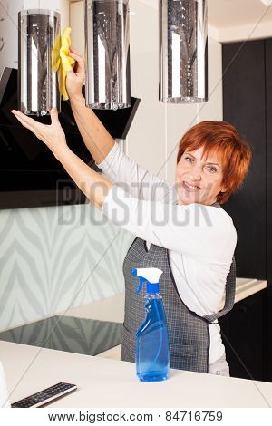Woman cleaning the kitchen. Adult woman washing lamp at home
