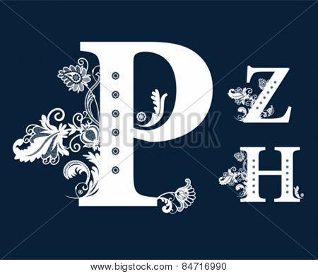 Vintage Floral Alphabet Set. Vector illustration