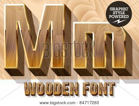 Vector set of 3D luxury wooden font in golden border. Letter M