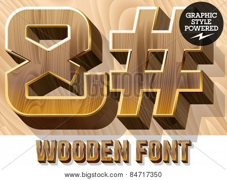 Vector set of 3D luxury wooden font in golden border. Symbols
