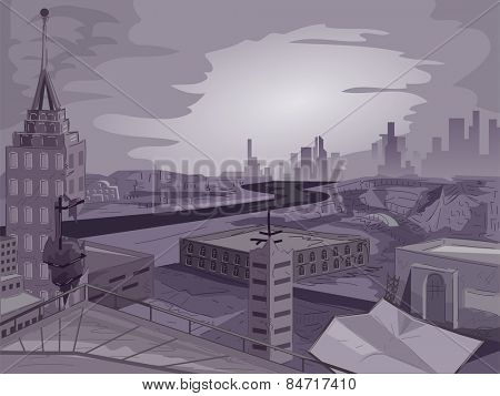 Illustration of a Cityscape With an Apocalyptic Vibe