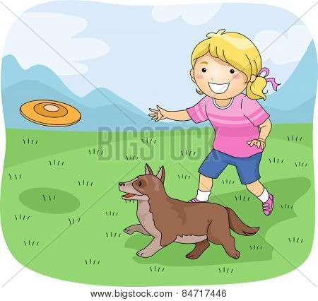 Illustration of a Little Girl Playing Frisbee With Her Pet Dog